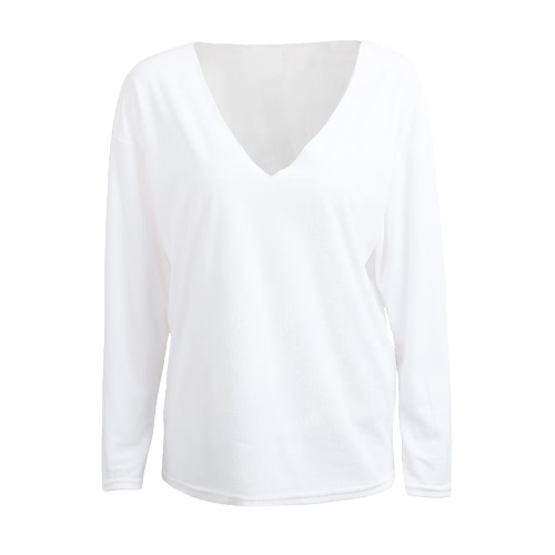 New Sexy Women T-Shirt Top V-Neck Long Sleeve Velvet Solid Casual Tees Top