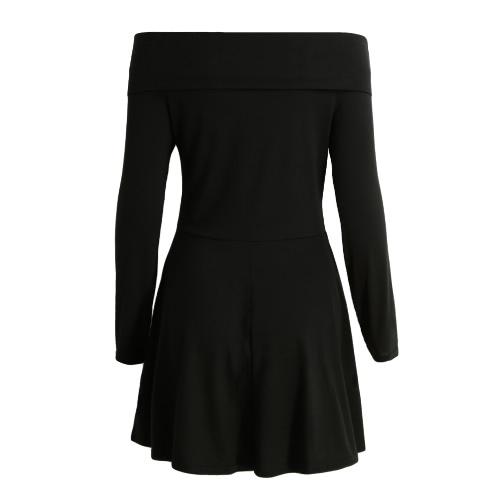 Vestido del hombro atractivo de las mujeres mini Off raya vertical sólido cuello manga larga Suéteres elegante de la fiesta una línea de vestidos Negro