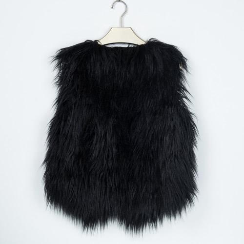 Moda Kobiety Puszyste Faux kamizelki bez rękawów z litego Futrzany Płaszcz Zima Ciepła kurtka wierzchnia Krótki Gilet