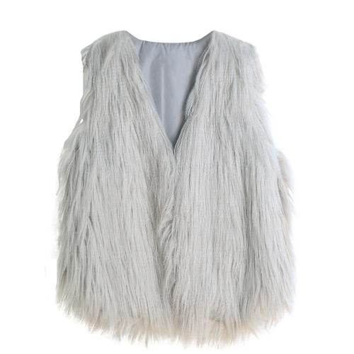 Fashion Women Fluffy Faux Fur Vest Sleeveless Coat Solid Furry Winter Warm Short Gilet Outerwear Jacket
