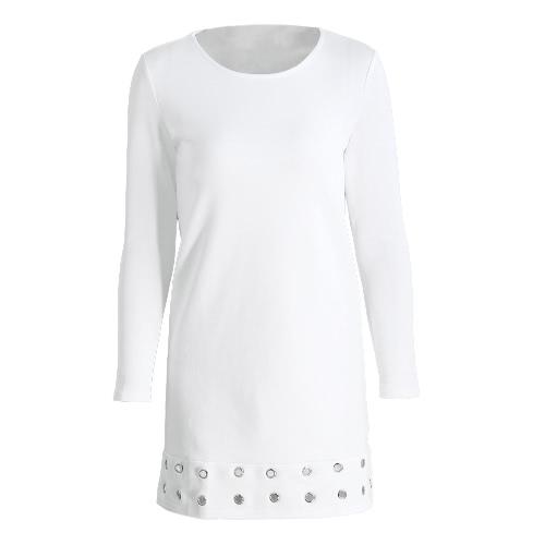 New Autumn Winter Women A-Line Dress Silver Grommet O-Neck Long Sleeves Mini Dress White