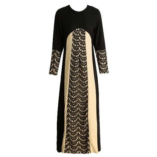New Fashion Women Muslim Maxi Dress Contrast Color Pitches Long Sleeve Abaya Kaftan Islamic Indonesia Robe Long Dress