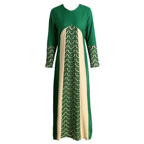 Las nuevas mujeres musulmanes vestido maxi del color del contraste Parcelas de manga larga Abaya Kaftan Islámica Indonesia Bata Vestido largo