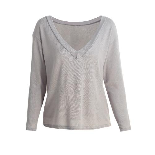Neue Art und Weise Frauen-fester lose Bluse mit tiefem V-Ausschnitt mit langen Ärmeln Pullover zufällige Spitze Grau