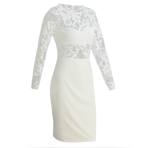 Sexy Women Midi Dress Bodycon Sheer Lace O-Neck Long Sleeves Elegant Party Dress Black/White