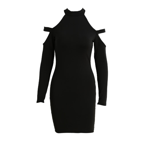 Kobiety BODYCON Sukienka wycięte ramię Długie rękawy Choker Turtle Neck Stretchy Sexy Party Dress Czarny / zieleń wojskowa / Red