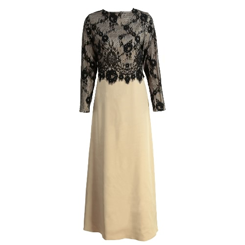 New mulheres muçulmanas vestido longo Lace Crochet Maxi Vestido manga comprida emenda Zipper elegante vestido balanço vestido Khaki / verde escuro / roxo