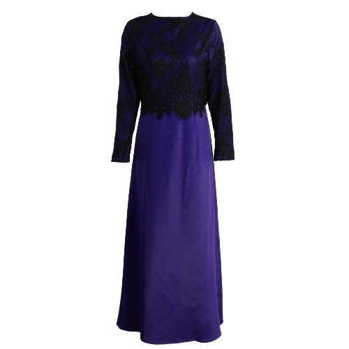 Las nuevas mujeres musulmanes largo vestido de encaje de ganchillo Vestido largo de la manga larga de empalme de la cremallera del vestido elegante swing vestido de color caqui / verde oscuro / púrpura