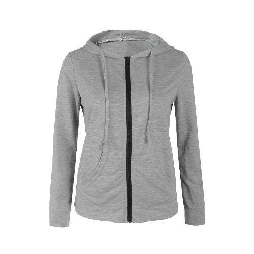 Las mujeres con capucha llana capucha y cremallera Sweatershirt de manga larga con capucha delantera del bolsillo de la chaqueta Outwear