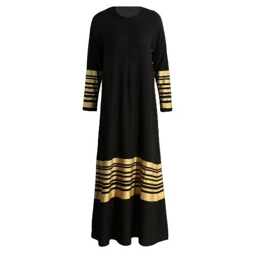 Neue Frauen-Muslim-Maxi Kleid Stripes Zipper langen Ärmeln Abaya Kaftan islamische Gewand Langes Kleid Orange / Schwarz / Dunkelblau