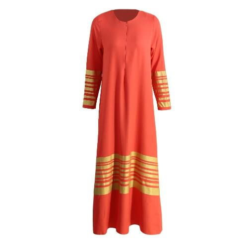 Las nuevas mujeres musulmanes Maxi vestido de las rayas de la cremallera de manga larga Abaya Kaftan traje largo del vestido islámico Naranja / Negro / Azul Oscuro