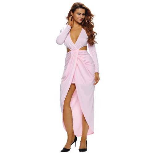 New Sexy Women Maxi Dress Plunge V Neck Cutout Waist Split Long Sleeve Ruched Dress Solid Evening Party Clubwear
