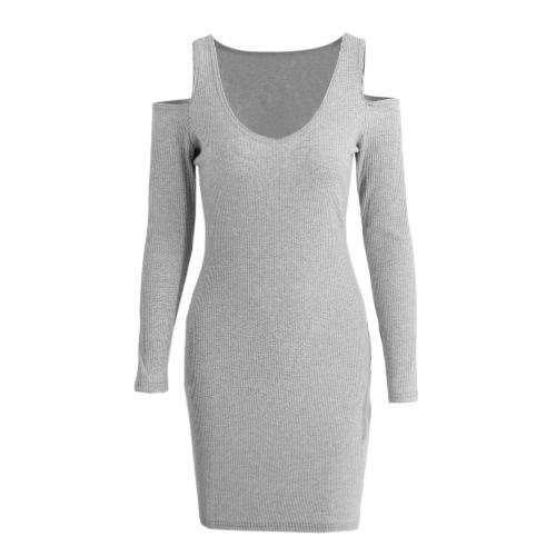 Nuevo mujeres atractivas del club del vestido del lápiz del partido recorte ajustado de manga larga de Midi Vestido tubo gris