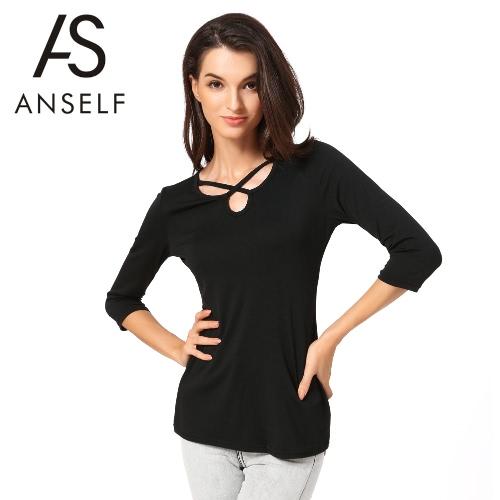 Nowe mody Kobiety Koszulka pełny przekrój paska Wytnij trzy czwarte rękaw slim Casual Topy Czarny