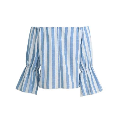 New Sexy Frauen gestreiftes Hemd Weg von den Schulter-Bluse mit langen Ärmeln Slash Ansatz beiläufige Top Blau