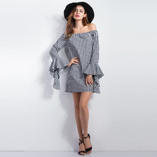 Las nuevas mujeres del hombro del patrón de la tela escocesa de la raya vertical vestido de cuello irregular de la llamarada mangas mini vestido Negro