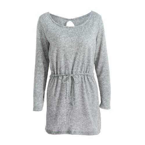 Nueva manera de las mujeres suéter de punto vestido sin espalda del recorte del lazo largo ocasional los géneros de punto del puente superior Gris