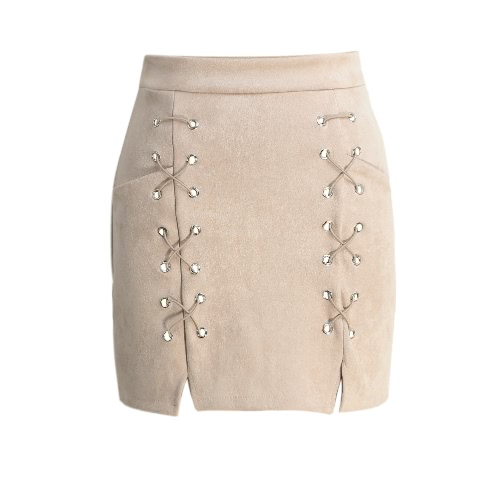 Outono feminino bordado Suede Leather Pencil Skirt Mid cintura Zipper Dividir Bodycon Short Skirt Preto / Bege / Verde