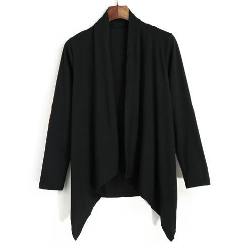 New Fashion Women Cardigan Open Front Drape Irregular Contrast Elobw Long Sleeve Casual Outerwear Black