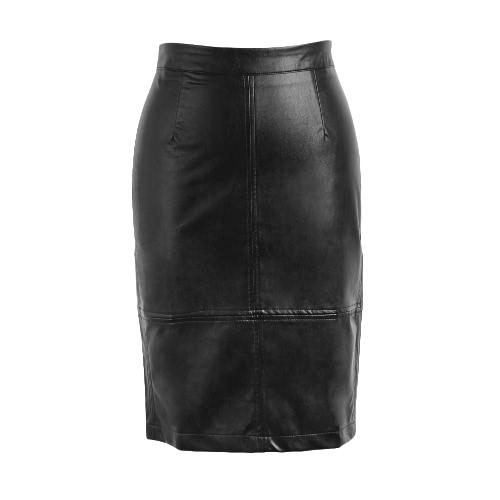 New Fashion PU Midi Skirt Solid Color Press Stud Zip Slit Back High Waist Clubwear Party Bodycon Skirt