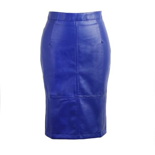 La nueva manera de la PU de la falda de Midi color sólido de botón de presión Postal de hendidura alto del partido de Clubwear de la falda de la cintura bodycon