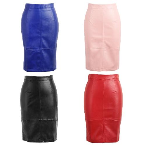 Unità di elaborazione del nuovo di modo Gonna longuette Solid Color Press Stud Zip fessura posteriore a vita alta da partito di Clubwear aderente Gonna