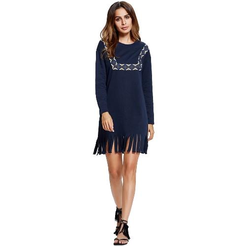Women Fringed Dress Tassel Contrast Trim Dropped Shoulder Long Sleeves O Neck Straight Shift Mini Dress Dark Blue