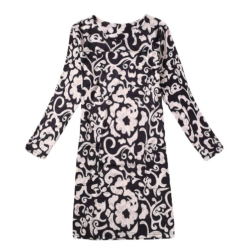 Casual Floral Print Round Neck Long Sleeve Spring Autumn Dress for Women