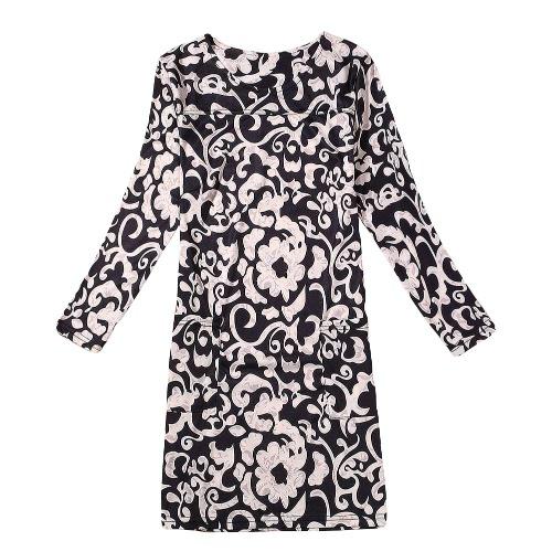 Flor de la manera de las nuevas señoras de impresión vestido de cuello redondo de manga larga del resorte ocasional del vestido de otoño