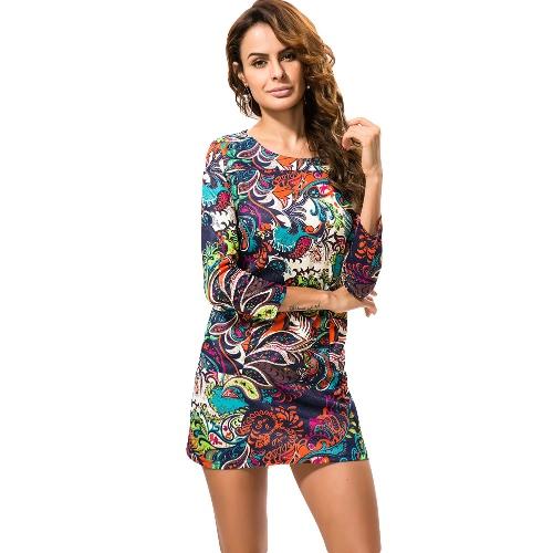 Nowa damska Flower Print Dress wokół szyi z długim rękawem Casual Dress Wiosna Jesień