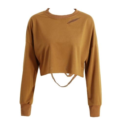 New Fashion Women T-Shirt Sweatshirt Holes Cutout Long Sleeve Solid Loose Casual Hoody Pullover Short Tops Khaki/Army Green/Pink