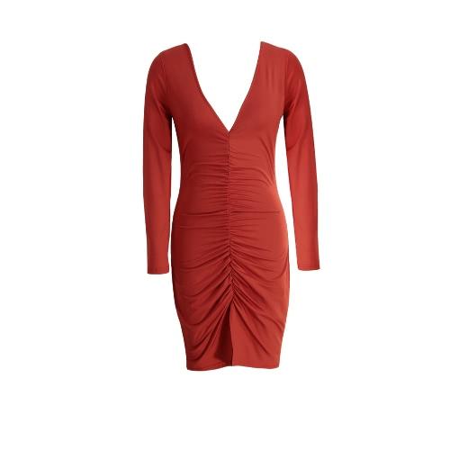 Vestido atractivo de las nuevas mujeres con pliegues de Split Hem profundo cuello en V manga larga de la envoltura de Bodycon del club del partido