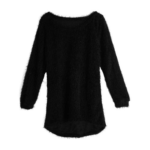 New Mulheres Fluffy camisola de malha O-Neck Dip Hem mangas compridas Tops Casual morna do pulôver