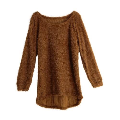 Las nuevas mujeres mullido suéter de punto de O-Cuello Dip Hem mangas largas ocasional caliente del jersey Tops