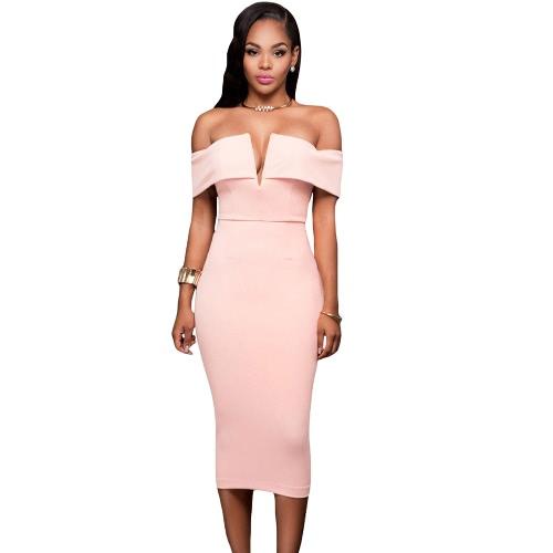 Nowe Seksowne kobiety Stały Sukienka Slash Neck Off Shoulder Tube BODYCON Klub Party Pencil Dress