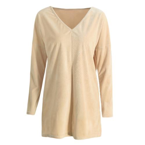 Neue Frauen-feste Velvet Bluse mit V-Ausschnitt mit langen Ärmeln Pullover-beiläufige lose elegante Spitze T Shirt