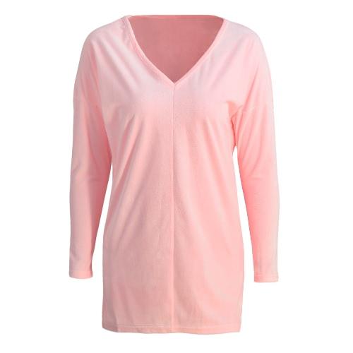 Las nuevas mujeres de terciopelo sólido de la blusa con cuello en V manga larga Suéteres floja ocasional elegante Top Camiseta