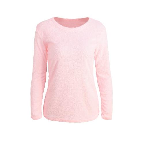 Forme a mujeres mullido del puente de cuello redondo de manga larga de la camiseta superior sólida gris / rosa / verde