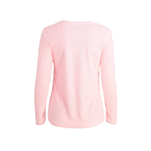 Fashion Women Fluffy Jumper Round Neck Long Sleeve Solid T-Shirt Top Grey/Pink/Green