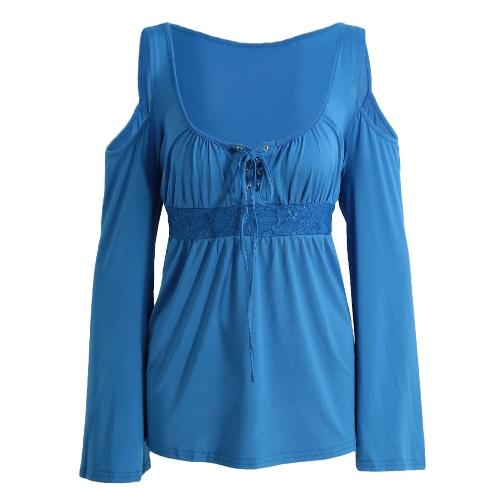 Neue Art und Weise Frauen-Bluse mit Schulter Lace-Up V-Ausschnitt Langarm Solid Color Lässige Shirt T-Shirt Tops