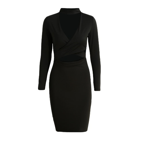 Nuevas mujeres atractivas vestido cruz maciza Fuera cabestro Discoteca Fiesta de corte ajustado de manga larga vestido de Midi Lápiz Negro