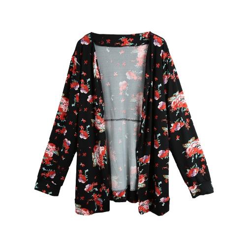 Mulheres Kimono Cardigan Floral New Vintage Imprimir manga comprida solta Casacos Tops casaco preto / verde escuro / azul marinho