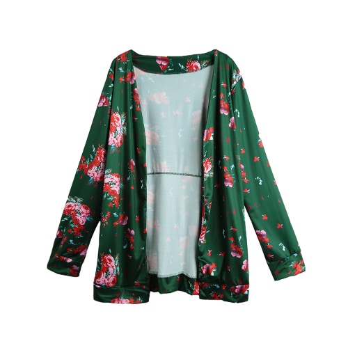 La nueva vendimia de las mujeres del kimono de la rebeca de la impresión floral de manga larga suelta prendas de vestir exteriores de la capa Tops Negro / verde oscuro / azul real