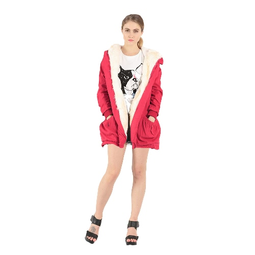 Women Hooded Coat Jacket Faux Fur Lining Collar Zip Drawstring Waist Pockets Long Thicken Parka Outwear