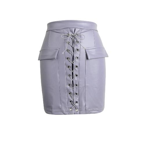 Kobiety Moda PU Leather Skirt BODYCON Lace Up Kieszenie Zipper wysoką talią Krótka spódnica mini Czarny / Różowy / jasny fiolet