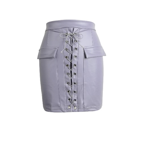 Moda PU de las mujeres Falda de cuero ajustado de encaje arriba bolsillos con cremallera de alta cortocircuito de la cintura mini falda Negro / rosa púrpura / Luz