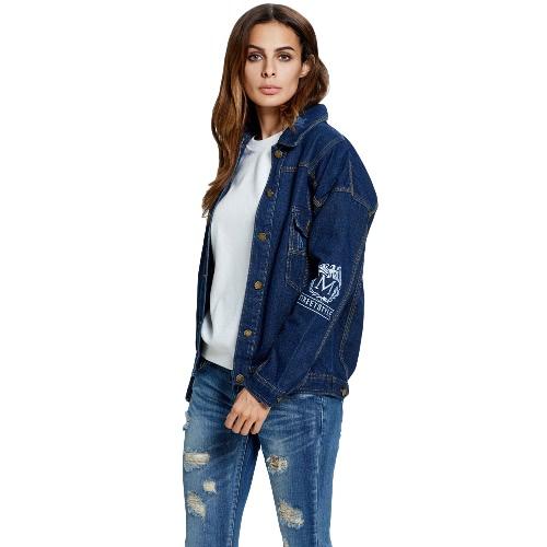 Women Denim Jacket Single Breasted Print Long Sleeves Pockets Button Jeans Coat Outerwear Dark Blue