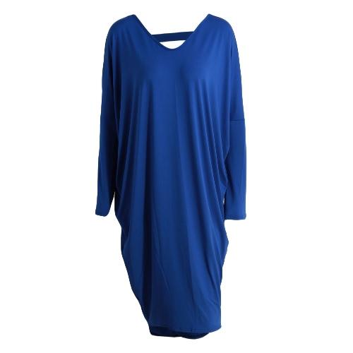 Nuevo de la manera vestido de las mujeres ahueca hacia fuera el color sólido Hem Irregularidad cuello en V manga alas de murciélago vestido elegante de la fiesta