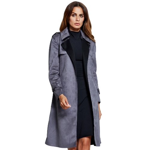Winter Women Trench Coat Faux Suede Notched Lapel Pockets Casual Long Loose Outerwear Grey/Camel
