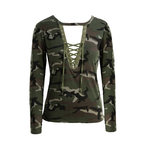 Le donne Camouflage Moda a maniche lunghe T-shirt Lace Up collo Croce Stampato sottile sexy T-shirt Tops Army Green